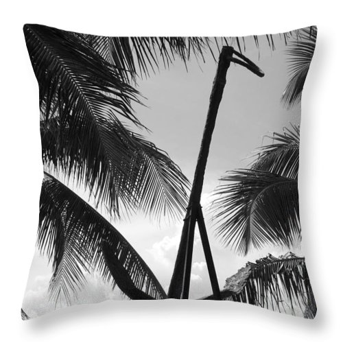 Black And White Throw Pillow featuring the photograph Anchor In Black And White by Rob Hans