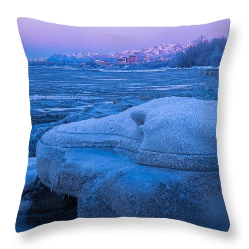 Anchorage Throw Pillow featuring the photograph Anchorage Icebergs by Tim Newton