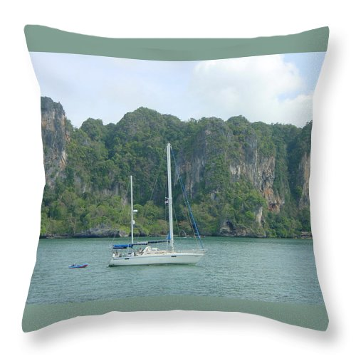 Sail Boat Throw Pillow featuring the photograph Anchored In Paradise by D Turner