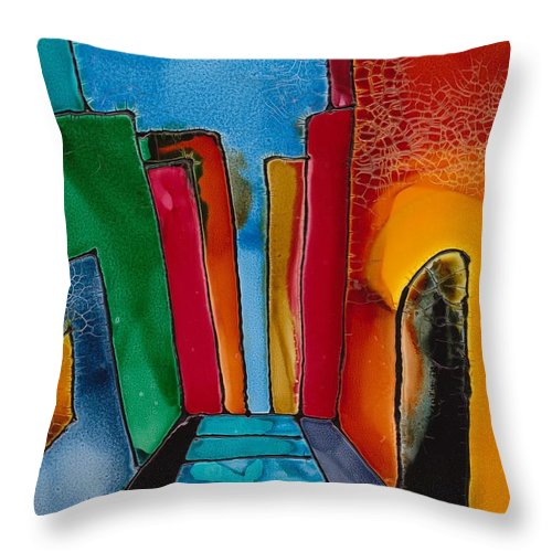 City Throw Pillow featuring the mixed media Ancient City by Susan Kubes