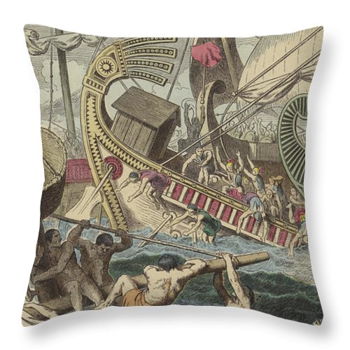 Ancient Greek Sea Battle Throw Pillow featuring the painting Ancient Greek Sea Battle by German School