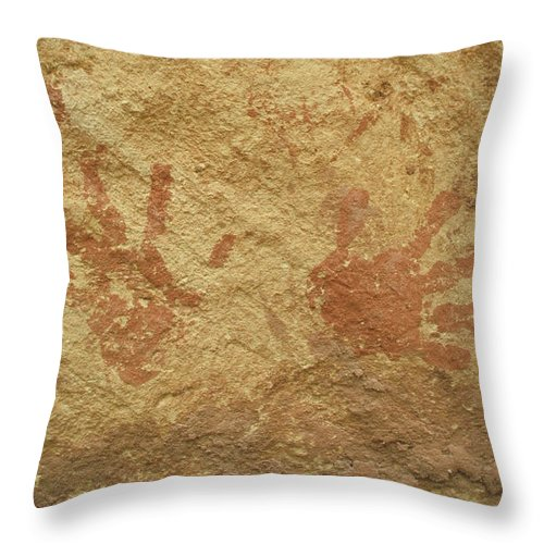 Anasazi Throw Pillow featuring the photograph Ancient Hands by Jerry McElroy