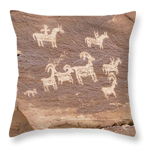 Arch Throw Pillow featuring the photograph Ancient Hieroglyphics In Arches National Park by Elijah Weber