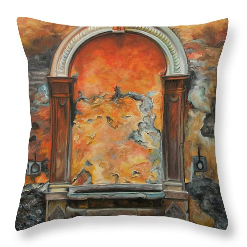 Fountain Painting Throw Pillow featuring the painting Ancient Italian Fountain by Charlotte Blanchard