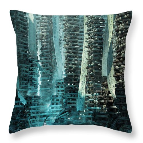 Landscape Throw Pillow featuring the digital art Ancient Library V1 by Te Hu