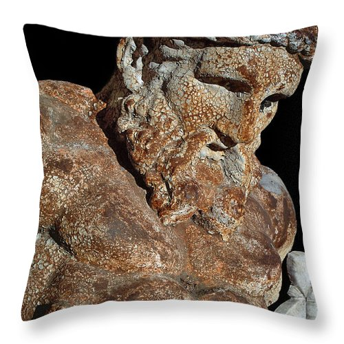 Gods Throw Pillow featuring the photograph ancient nudes photograph - Atlas Shrugged by Sharon Hudson