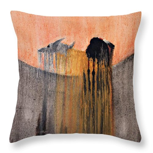 Art Throw Pillow featuring the painting Ancient Paryer by Patrick Trotter