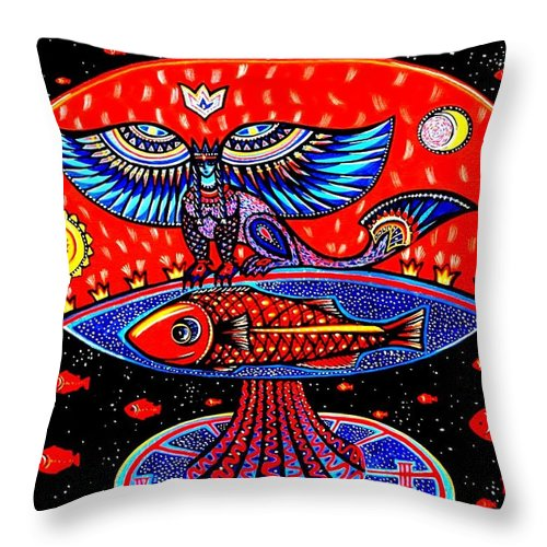 Abstract Throw Pillow featuring the painting Ancient Russia by Inga Vereshchagina