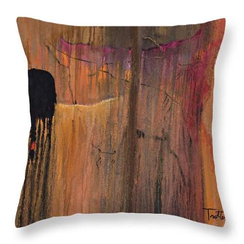 Culture Throw Pillow featuring the painting Ancient Scripture by Patrick Trotter