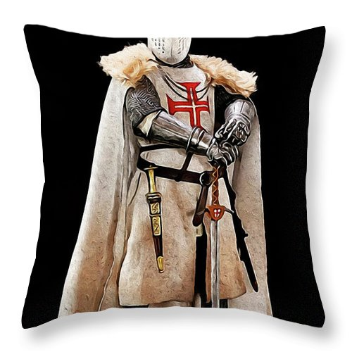 Templar Sergeant Throw Pillow featuring the painting Ancient Templar Knight - 02 by Andrea Mazzocchetti