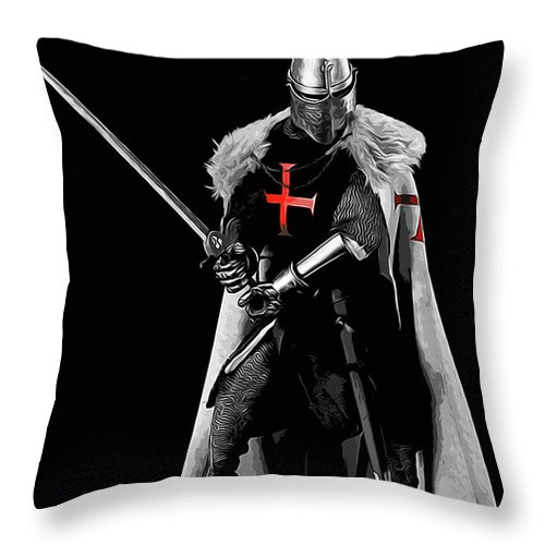 Templar Sergeant Throw Pillow featuring the painting Ancient Templar Knight - 05 by Andrea Mazzocchetti