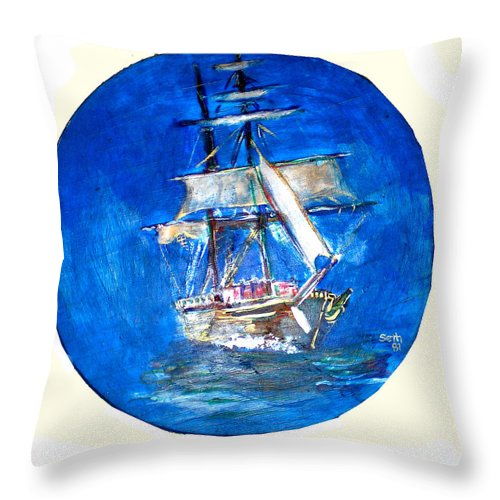 Acrylic On Wood Throw Pillow featuring the painting Ancient Vessel by Seth Weaver
