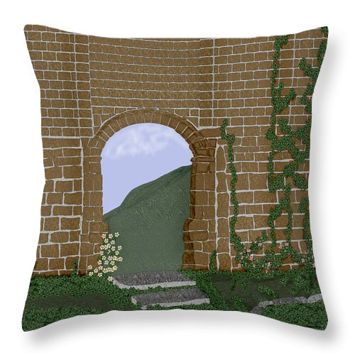 Irish Ruins Throw Pillow featuring the painting Ancient Walls by Anne Norskog