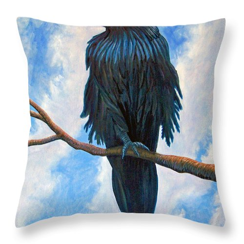 Raven Throw Pillow featuring the painting And All That I See by Brian Commerford
