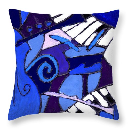 Blues Throw Pillow featuring the painting and All that Jazz 3 by Wayne Potrafka
