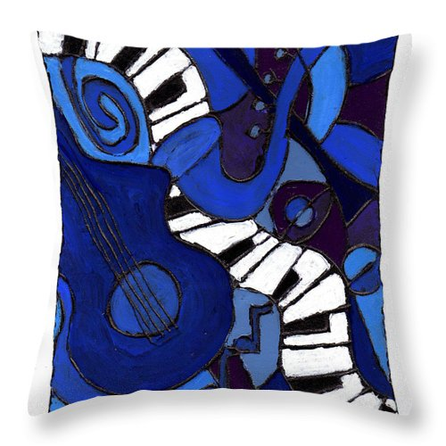 Jazz Throw Pillow featuring the painting and All That Jazz two by Wayne Potrafka