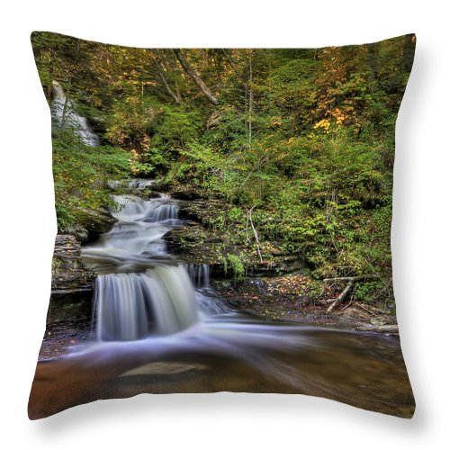 Fall Throw Pillow featuring the photograph ...and Down It Goes... by Evelina Kremsdorf