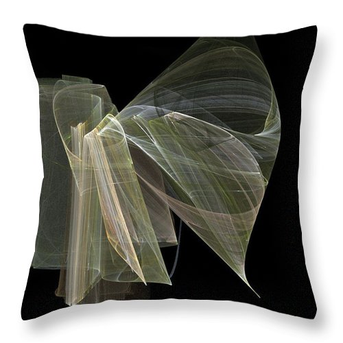 Experimental Throw Pillow featuring the digital art And The Angel Spoke..... by Jackie Mueller-Jones