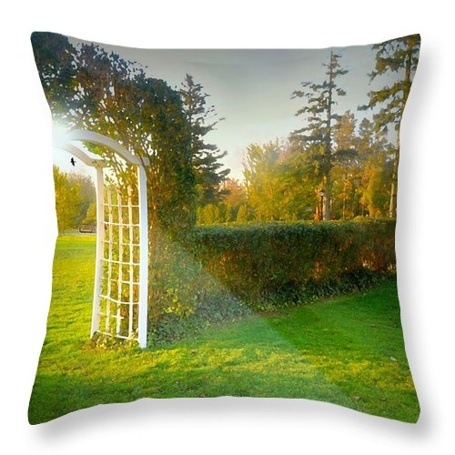 Landscape Throw Pillow featuring the photograph And The Trellis by Diana Angstadt