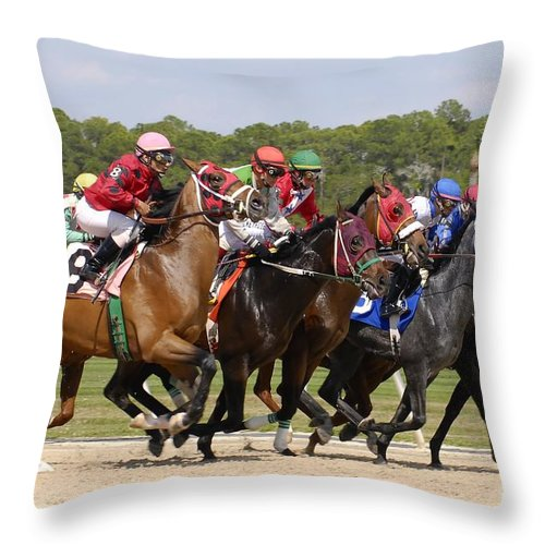 Horse Racing Throw Pillow featuring the photograph And Their Off by David Lee Thompson