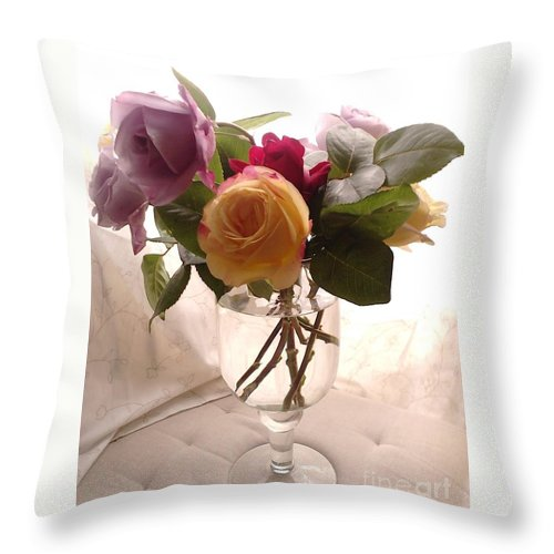 Violet Roses Throw Pillow featuring the photograph And Violet Roses Too by Melina Mel P