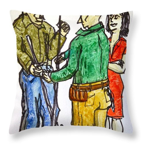 People Throw Pillow featuring the painting And When You Finish With That... by Vic Delnore