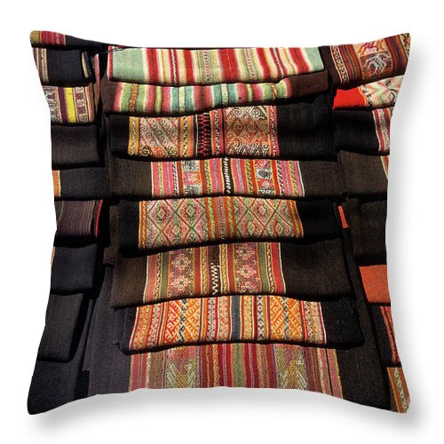 Bolivia Throw Pillow featuring the photograph Andean Textile Market by James Brunker