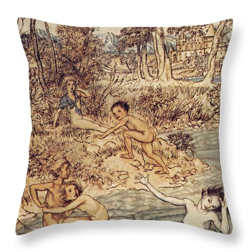 19th Century Throw Pillow featuring the painting Andersen: Little Mermaid by Granger