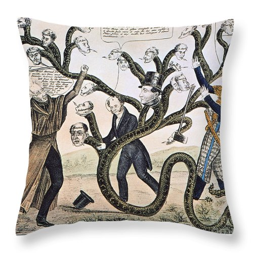 1828 Throw Pillow featuring the photograph Andrew Jackson (1828) by Granger