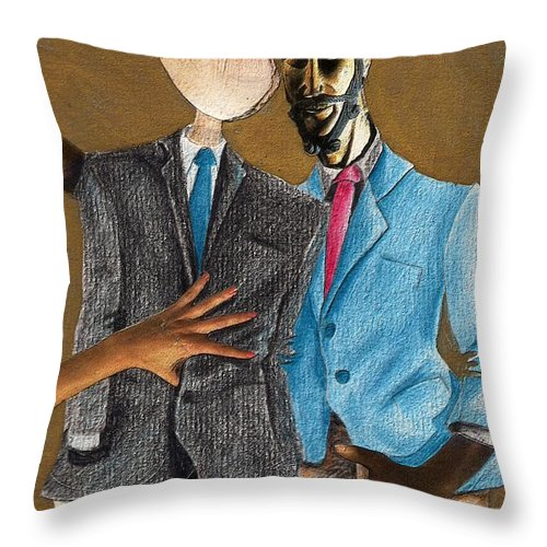 Sex Gay Androginality Couple Love Relation Throw Pillow featuring the mixed media Androginality by Veronica Jackson