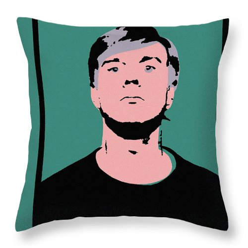 Andy Warhol Throw Pillow featuring the painting Andy Warhol Self Portrait 1964 On Green - High Quality - Stamp Edition 2012 by Peter Potamus
