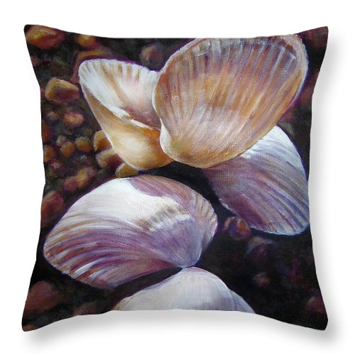 Painting Throw Pillow featuring the painting Ane's Shells by Fiona Jack