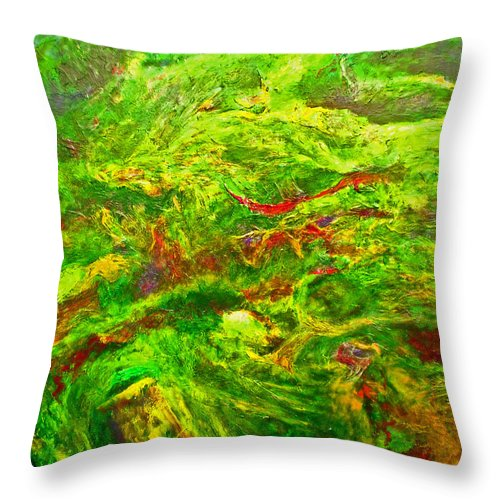 Abstract Throw Pillow featuring the painting Anew by Michael Durst