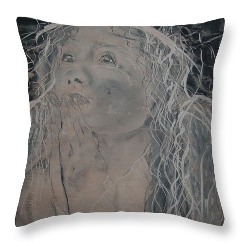 Throw Pillow featuring the painting Angel 1 by J Bauer