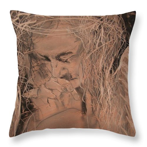 Throw Pillow featuring the painting Angel 2 by J Bauer