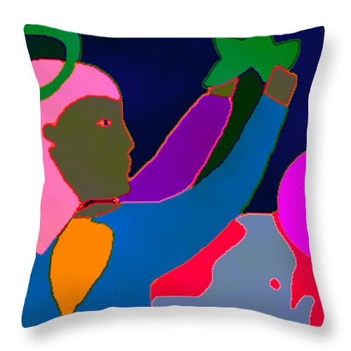 World Throw Pillow featuring the digital art Angel And Star 2 by Angelina Marino
