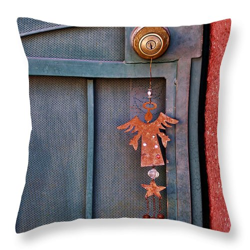 Angel Throw Pillow featuring the photograph Angel At The Door by Carol Leigh