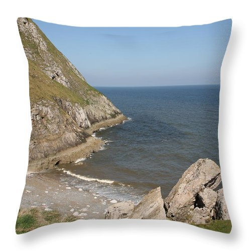 Cliffs Throw Pillow featuring the photograph Angel Bay. Little Orme. by Christopher Rowlands