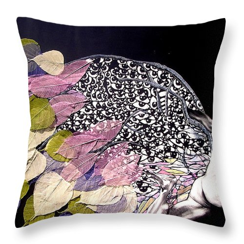 Throw Pillow featuring the mixed media Angel Eyes by Chester Elmore