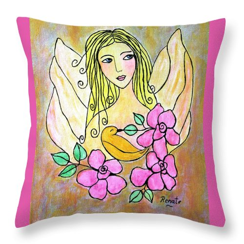 Angel-art Throw Pillow featuring the painting Angel-face by Renate Dartois