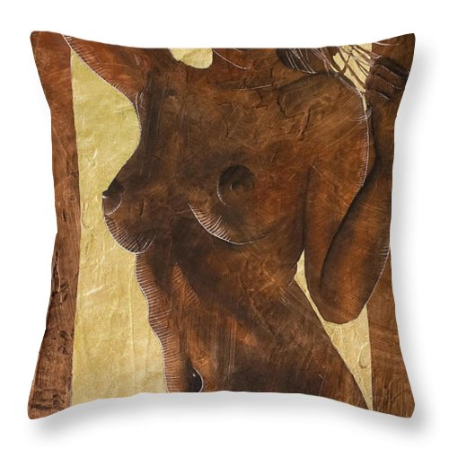Nude Throw Pillow featuring the painting Angel In Gold by Richard Hoedl