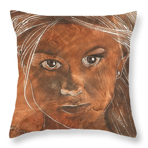 Nude Throw Pillow featuring the painting Angel In Process Head Detail by Richard Hoedl