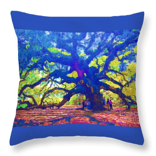 Tree Throw Pillow featuring the photograph Angel Oak Tree by Donna Bentley