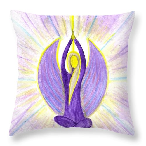 Angel Throw Pillow featuring the painting Angel Of Contemplation by Konstadina Sadoriniou