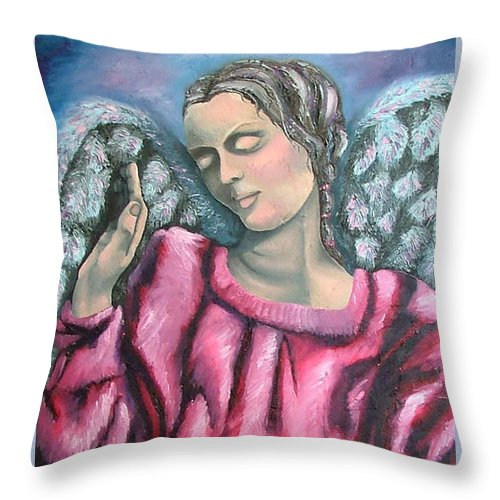 Angel Throw Pillow featuring the painting Angel Of Hope by Elizabeth Lisy Figueroa