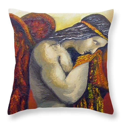 Angel Throw Pillow featuring the painting Angel Of Love by Elizabeth Lisy Figueroa