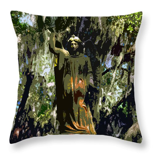 Angel Throw Pillow featuring the painting Angel Of Savannah by David Lee Thompson