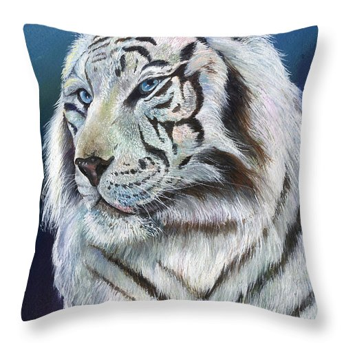 Big Cat Throw Pillow featuring the painting Angel The White Tiger by Sherry Shipley