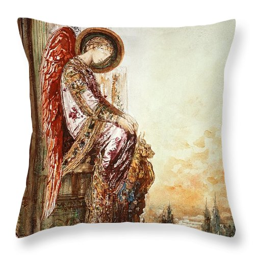 Watercolor Throw Pillow featuring the painting Angel Traveller by Gustave Moreau