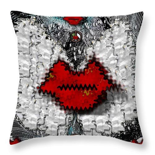 Angel Throw Pillow featuring the mixed media Angel Wings Brings Love And Peace by Pepita Selles